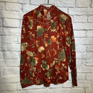 - Coldwater creek XS 4/6 red floral thin shirt